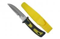 """Cuchillo de buceo""""Security"""", Acero inoxidable 11,5cm - Ideal para la pesca, submarinismo o cualquier tipo de navegación..   Hoja de acero inoxidable de 11,5 cm (4,5""""), de doble función : standard y hendidura para cortar cabos y redes. .   Mango de goma.   Servido con un estuche de PVC y cinchas de fijación. ."""