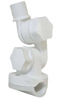 Soporte Antena con doble ajuste para candelero - Este soporte de antena para candelero se fabrica en Nylon reforzado. Se instala en candeleros con diametros deT 19.1-25.4mm. Se puede ajustar tanto horizontalmente como verticalmente y cerrar en posicion. Una ranura permite el paso de cables de GPS o coaxial. Disponible en color Blanco..   Rosca estandar de 1x14´´