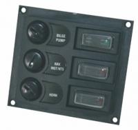 Panel de Control con Interruptor y Fusible - El panel esta fabricado en plástico resistente y diseñado para barcos pequeños y medianos. Los interruptores incluyen indicadores LED para indicar que los dispositivos reciben corriente eléctrica...