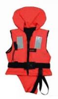 Chaleco Salvavidas para niños 100N, CE ISO 12402-4 - Diseñados para mantener a un niño inconsciente boca arriba y con las vias respiratorias fuera del agua. Un collar con flotacion aguanta la cabeza del niño y el diseño del chaleco proporciona la capacidad de girarlo a una posicion segura.