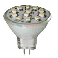 Bombilla 12V LED, MR11, blanco frío - 12 LEDs - Bombilla LED con conexión G 4..   MR11.   Datos Técnicos.   Alimentación 12.   Lumen 90lm.   LEDs 12.   Color Blanca.   Diámetro 38,5mm - 35 mm