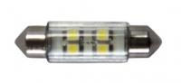 Bombilla 12V LED T11 - Bombilla  LED 12V..   T11 39mm, blanco - 2x4 LEDs.   360º.   Servida por unidad