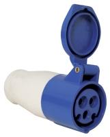 Enchufe hembra con tapa 16A, 220-240V, azul - Enchufe hembra con tapa para toma de cooriente o alargo. 16A, 220-240V