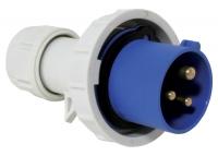 Enchufe macho con anilla de seguridad 16A, 220-240V, azul - Enchufe macho de 3 bornes, con anilla de seguridad, para toma de cooriente. 16A, 220-240V