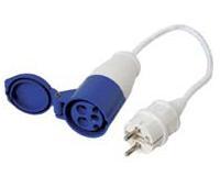 Juego con enchufe hembra 16A y connector Schuko 16A, 220-240V, azul