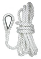 Cabo de fondeo de tres cordones 10mm x 9,5 m, con gaza y guardacabos.