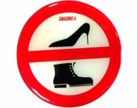 Pegatina Prohibido Zapatos - Adhesivo de silicona en relieve.