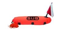 """Boya de Buceo """" DIVE SAFE"""" Torpedo con 20m de cabo - Para la señalización en la superficie..   Boya de señalizacíón tipo torpedo con bandera y 20m de cabo."""