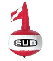 """Boya de Buceo """" DIVE SAFE"""" redonda - Para la señalización en la superficie..   Boya de señalizacíón standard con bandera inflable."""