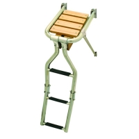 Plataforma de Popa Inox 316 con Escalera Plegable - Plataforma de acero inoxidable con escalera plegable.   Tubo de acero inoxidable de 25 mm.   Plataforma madera de Teca.   Largo: 390 mm..   Ancho: 210 o 270 mm