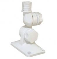 Soporte Antena con doble ajuste - Soporte universal, fabricado en Nylon reforzado, para instalacion en cubierta o mamparo. Los dos ajustes permiten ajustar la antena verticalmente u horizontalmente. Una ranura permite el paso del cable coaxial o de GPS. Disponible en blanco..   Rosca estandar de 1x14´´