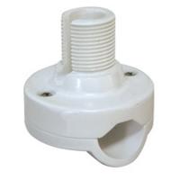 Soporte Antena para candelero - Fabricado en nylon reforzado. Para montaje en candeleros con diametros de tubo de 19.1 - 25.4mm. Un solo ajuste proporciona cuatro direcciones de pocionamiento. Disponible en blanco..   Altura: 41mm.   Rosca estandar de 1x14´´