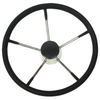 Rueda inoxidable con espuma negra - Rueda de timón de acero inoxidable recubierta de espuma negra para un mayor agarre..   Diámetros disponibles: 343 y 390 mm