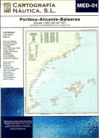 Carta Nautica MED-01. Portbou - Alicante - Baleares - Basada en la carta náutica del Intituto Hidrográfico de la Marina no. 4C, 47, 48, y 49.   Escala: 1:600.000 (40º 00´).   Proyección de Mercator