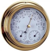 Barometro Termo-Higrometro. Esfera 120 mm - Caja de latón pulido..   Esfera 120 mm.   Base 150 mm.   Altura 45 mm