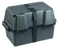 Caja para baterias hasta 100Ah - De polipropileno rigido resistentes a los acidos. Servida con cincha de sujeción.