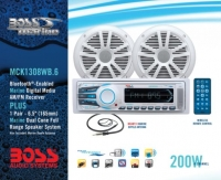 Pack Radio Marina Boss MCK1308WB.6 - El Pack de audio Boss incluye:.   - 1 equipo MR1308UAB AM/FM.   - 2 altavoces MR6W.   - 1 antena MRAN10.