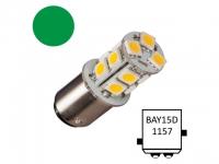 NauticLED Bay15D-T13-GN - 13 LEDs. luz de navegacion color Verde - Bombillas LED de Navegación con casquillo bayoneta y festoon..   Bay15D Navi-13.   Led de sustitución para 20 W