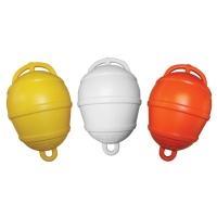 Boya de Fondeo Tipo Pera - Boya de fondeo fabricadas en material plástico..   - Diámetro: 250 mm.   - Altura total: 390 mm.   - Flotabilidad: Total 9,5 kg / Útil 4,5 kg.   - Color: Amarillo, Blanco o Naranja