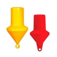 Boyas de señalizacion cilíndricas - Fabricadas en material plástico rígido.   Anillas reforzadas por guardacabos metálicos.
