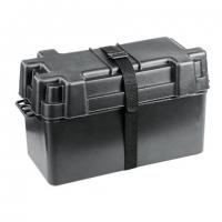 Caja para baterias hasta 120Ah - De polipropileno rigido resistentes a los acidos. Servida con cincha de sujeción y placa separadora.