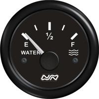 Indicador de nivel para agua 0-190 Ohm - indicador de nivel para depósitos de aguae.   Frecuencia: Tipo VDO (0-190 o 240-33 Ohmios).   Diámetro: 52 mm..   Voltaje: 12/24 V