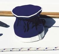 Fundas para Winch Dralon Azul. Servida en bolsa de 2 unidades. - Las fundas en Dralon se ajustan sobre el cuerpo del winche mediante una cinta elástica y se fijan a la base mediante una cincha. .   Tamaño S - Ø 14 x alt.16 cm.   Tamaño M - Ø 17 x alt.18 cm