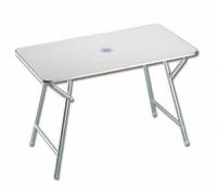 Mesa de abordo plegable Rectangular Antihumedad - Mesa de abordo rectangular plegable.   Estructura de aluminio anodizado y tablero de melamina blanca decorada con motivos náuticos..   Altura: 70 cm. Tablero: 90 x 60 cm o 110 x 60 cm