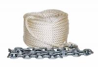 Linea de Fondeo completa con cabo de poliester  y cadena - Linea de fondeo con cabo de 8, 10 o 12 mm, en material poliester y equipado de un guardacabo, grillete y 1.5 metros de cadena galvanizada de 6 mm.