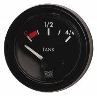 Indicador de nivel universal negro 10-180 Ohm 12 V - indicador de nivel universal con indicación de la reserva..   Para depósitos de agua o combustible.   Frecuencia: 10-180 ohm.   Voltaje: 12 V .   Diámetro: 52 mm.