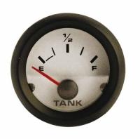 Indicador de nivel universal blanco 10-180 Ohm 12 V - indicador de nivel universal con indicación de la reserva..   Para depósitos de agua o combustible.   Frecuencia: 10-180 ohm.   Voltaje: 12 V .   Diámetro: 52 mm.