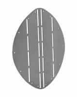 Escudo protector de proa - Fabricado de acero inoxidable. Protege la proa cuando se recoge el ancla. Pensado para moldearlo a mano, se adapta a  todo tipo de carenas gracias a los pliegues (hendiduras) en el escudo.