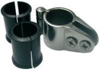 Abrazadera para Toldo o Bimini con Bisagra y Adaptadores Inox 316 - Abrazadera para Toldo o Bimini con Bisagra y Adaptadores Inox 316.   Abrazadera en acero inoxidable con adaptadores en PVC para tubo de 20, 22 y 25 mm de diámetro.
