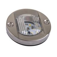 Luz LED de Poparedonda Inox, para embarcaciones menores de 12 m. - UtilizabombillaLED con un granahorro del consumo..   Luzparaempotrar, fabricadaenaceroinoxidableAISI 304..   Voltaje: 12V. 128 lumens..   Diámetro: 75mm