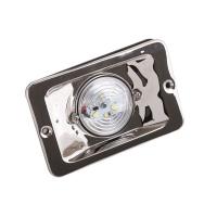 Luz LED de Popa Rectangular Inox, para embarcaciones menores de 12 m - Luz empotradarectagunlar, fabricadaen aceroinoxidable. UtilizabombillaLED con un granahorro del consumo..   Voltaje: 12V..   Dimensiones: Alto 85mm, Largo 131mm, Ancho34,3mm.Diámetro: 75mm.