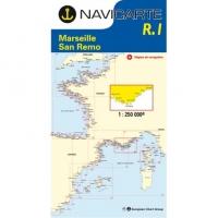 Carta Náutica Navicarte R1 - Routier Marseille - San Remo - R1 Routier Marseille - San Remo.   Edición Francesa.   Escala 1:250.000