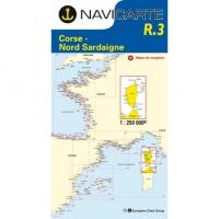 Carta Náutica Navicarte R3 - Routier de la Corse - Nord Sardaigne - R3 Routier de la Corse - Nord Sardaigne.   Edición Francesa.   Escala 1:250.000
