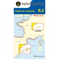 Carta Náutica Navicarte R5 - Golfe de Valencia - Barcelona - Alicante - Baléares - R5 Golfe de Valencia - Barcelona - Alicante - Baléares.   Edición Francesa.   Escala 1:640.000