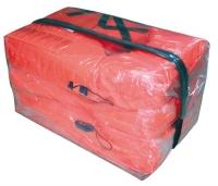 Bolsa estanca con 4 o 6 chalecos salvavidas de 100N - Contiene 4 o 6 chalecos con flotabilidad inherente de 100N..   Bolsa estanca fabricada en material transparente con un mínimo de costuras y que ocupa un mínimo de espacio. Facilita su movilidad en caso de emergencia o una inspección.