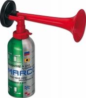 Bocina de Gas Liquido MARCO con carga de 300 ml - Para toda clase de señales fónicas..   Gran intensidad de sonido, ideal en casos de niebla.
