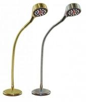 Luz con LED para mesa de cartas - 18 LED color blanco..   Brazo flexible de 30 cm..   Cuerpo de aluminio, con 2 acabados disponibles: cromado y latón.