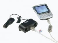 Multiconexion de dos salidas 12 v + conexion USB - Ladrón y alargador para toma de mechero, con 2 conexiones DIN de 12V + 1 conexión USB..