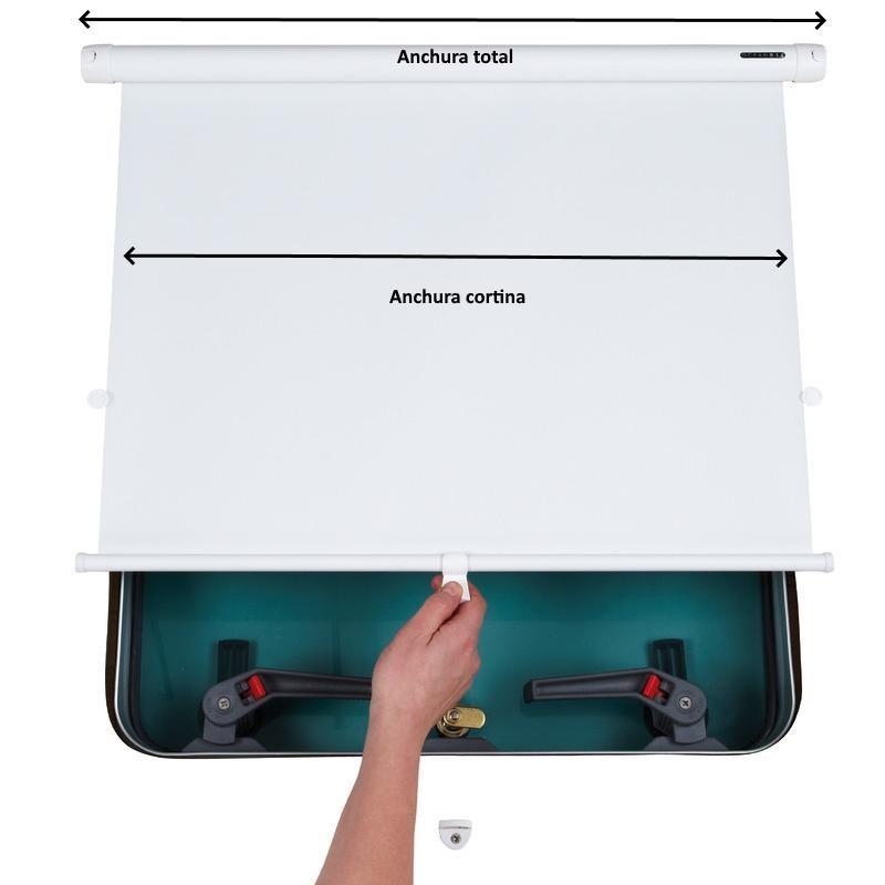 Cortina Enrollable - Cortina enrollable fabricada en poliéster con soportes y muelles de acero inoxidable. .   Proporciona una completa oscuridad en la noche y  permite el reflejo de la luz solar durante el día.