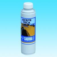 Aceite Teca Sadira 350 ml - Aceite Teca.   Producto individual para el mantenimiento de la madera de Teca, cualquiera que sea su estado y tipo. Penetra en la madera y forma una barrera de aceites no secantes contra la humedad, suciedad y manchas e impide que adquiera el aspecto de madera vieja y gris.