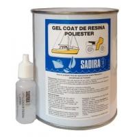 Kit Gel Coat Sadira de Resina de Poliester 1kg - Para reparación de superficie y casco. Masilla de poliéster