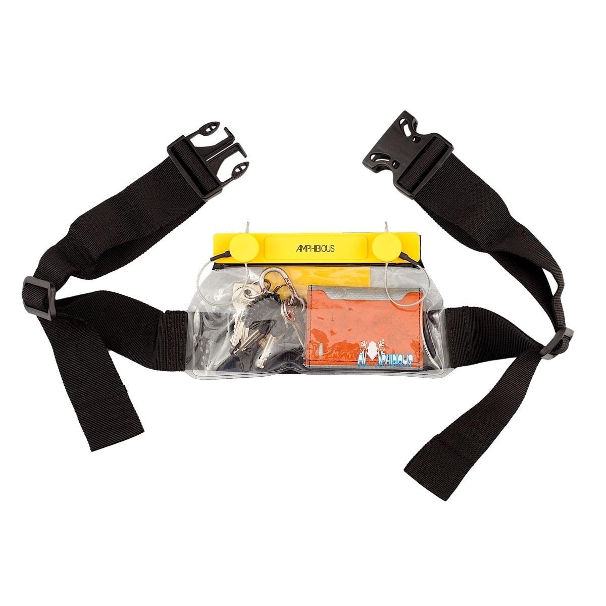Riñonera estanca con cinturón Amphibious - Deep Case  - Medidas 9 x 21 cm. Peso 245 gr. Resistente hasta 50 m. de profundidad bajo el agua. Apropiado para uso deportivo y profesional. Compatible con pantallas táctiles.
