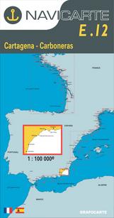 Carta Náutica Navicarte E12 - Cartagena - Carboneras - E12 - Cartagena - Carboneras.   Edición Francés / Español.   Escala 1:100.000