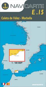 Carta Náutica Navicarte E15 - Caleta de Velez - Marbella - E15 - Caleta de Velez - Marbella.   Edición Francés / Español.   Escala 1:100.000