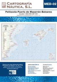 Carta Nautica MED-02. Peñiscola - Pto. de Mazarron - Baleares - Basada en la carta náutica del Intituto Hidrográfico de la Marina no. 4C, 46, 47 y 48.   Escala: 1:600.000 (38º 00´).   Proyección de Mercator