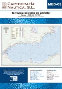 Carta Nautica MED-03. Torrevieja - Estrecho de Gibraltar - Basada en la carta náutica del Intituto Hidrográfico de la Marina no. 4C, 45 y 46.   Escala: 1:600.000 (36º 00´).   Proyección de Mercator